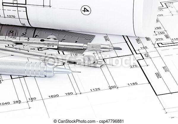 gráfico, planes, regla, pluma, compás, arquitectónico, dibujo - csp47796881