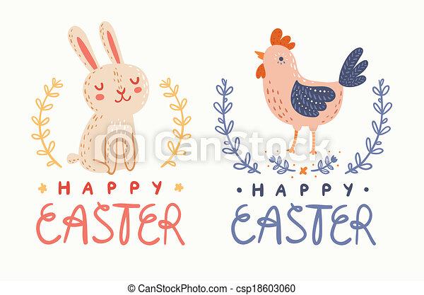 Feliz conejo de Pascua y saludos de pollo gráfico - csp18603060