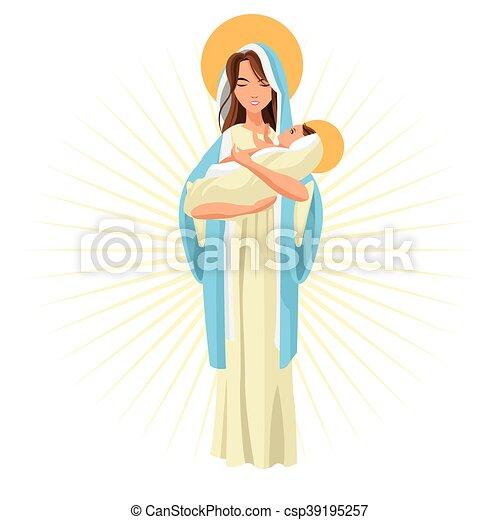 Gráfico, santo, jesús, vector, bebé, icon., maría. Vector, pastel ...