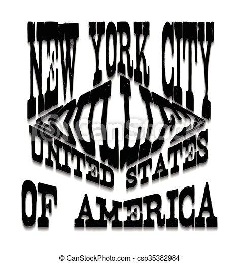 Diseño gráfico de tipografía de Nueva York - csp35382984