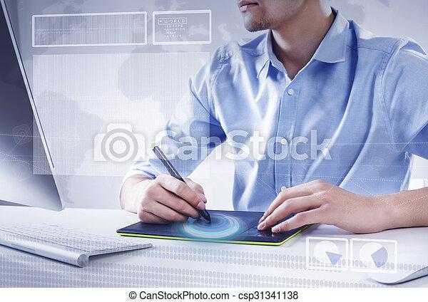 Diseñador gráfico en el trabajo - csp31341138