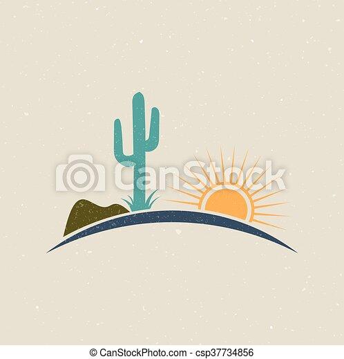 Estilo clásico del logo del desierto. Diseño gráfico Vectoir - csp37734856