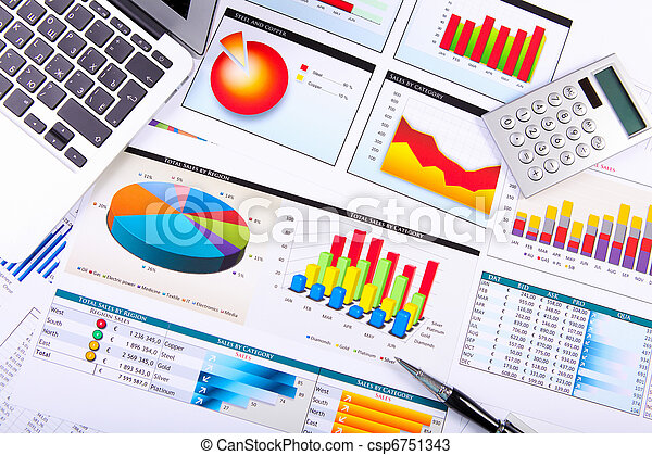 gráficos, mesa., gráficos, empresa / negocio - csp6751343