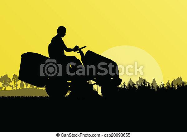 gräsmatta, abstrakt, illustration, slåttermaskin, fält, klippande, vektor, traktor, bakgrund, gräs, landskap, man - csp20093655