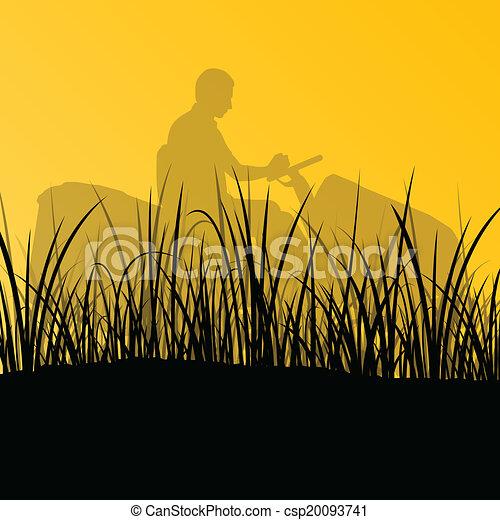 gräsmatta, abstrakt, illustration, slåttermaskin, fält, klippande, vektor, traktor, bakgrund, gräs, landskap, man - csp20093741
