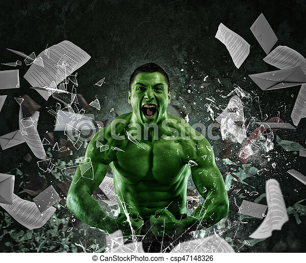 grön, mäktig, muskulös, man - csp47148326