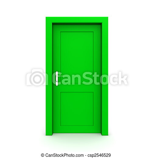 grön, singel, dörr, stängd - csp2546529