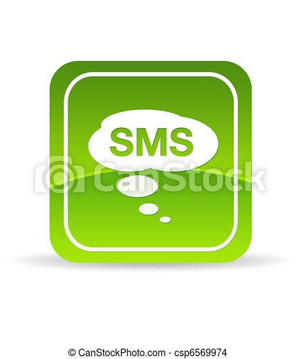 grön, sms, ikon - csp6569974
