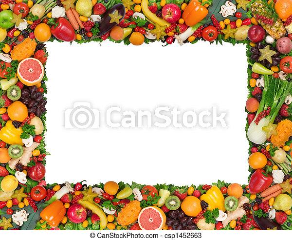 grönsak, ram, frukt - csp1452663