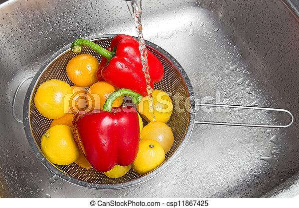 grönsaken, tvagning, färgrik, frukter - csp11867425