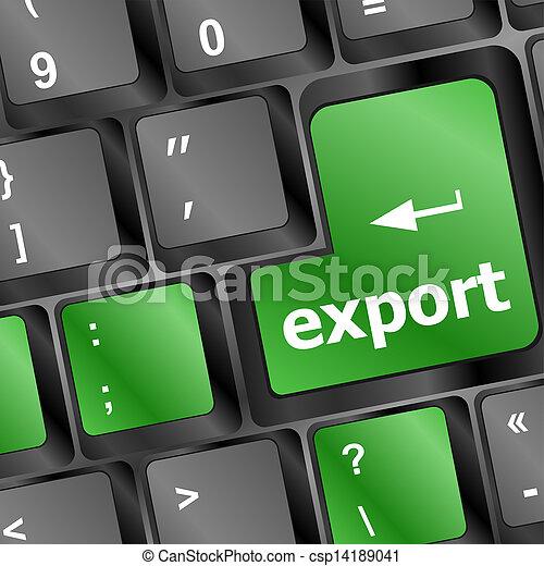 grønne, knap, eksporter, klaviatur - csp14189041