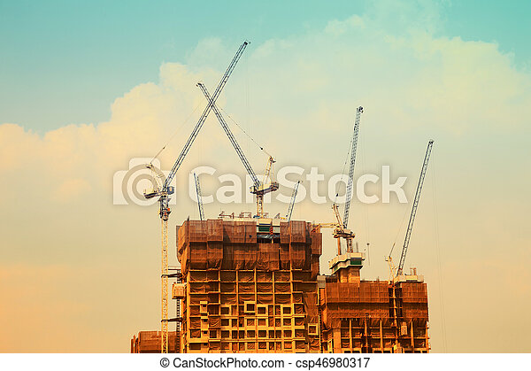 grúa de edificio, construcción - csp46980317