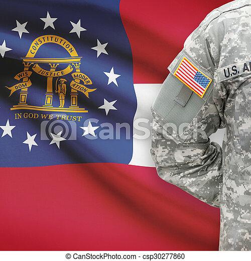 grúzia, -, állam, bennünket, katona, lobogó, háttér, amerikai - csp30277860
