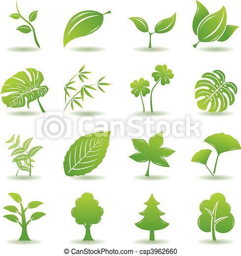Grüne Blätter-Ikonen aufgestellt - csp3962660