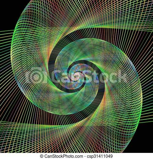 Grün, spirale, verdrahtet, hintergrund, design, fractal EPS Vektor ...