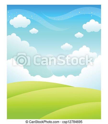 grüner himmel, landschaftsbild - csp12784695