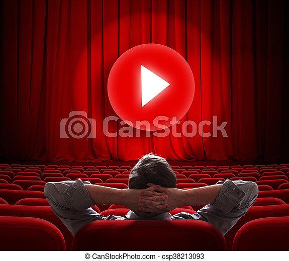 gra, środek, kino, media, ekran, online, kurtyna, guzik, czerwony - csp38213093