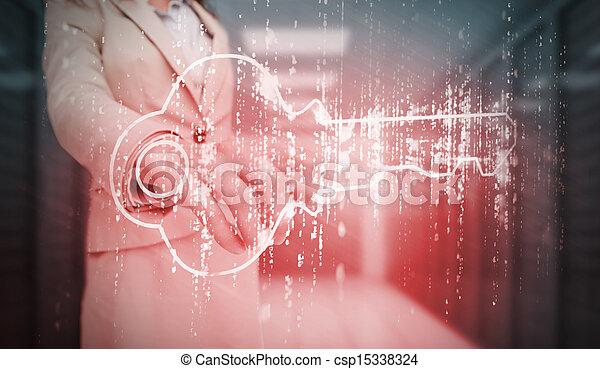 Mujer de negocios tocando el candado rojo - csp15338324