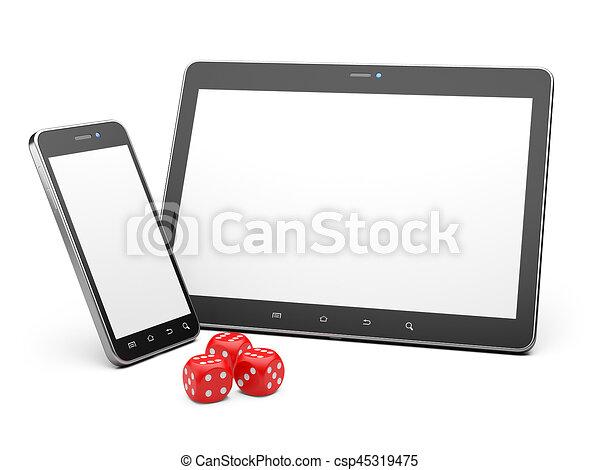 gra, smartphone, tabliczka, concept., gra, online, dices. - csp45319475