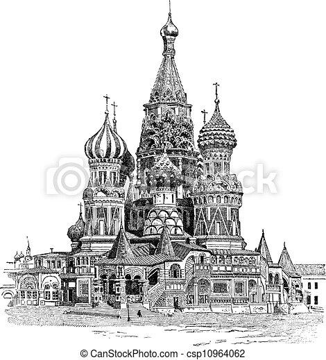 Catedral de Saint Basil, en Moscú, Rusia, grabado antiguo - csp10964062