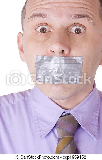 Hombre con la boca tapada - csp1959152