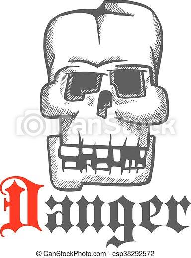 Simbolo de grabado de cráneo humano cuadrado - csp38292572