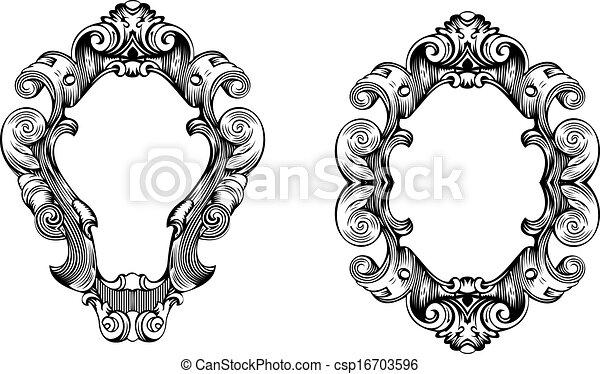 Dos elegantes curvas de barroco ornativo grabados - csp16703596