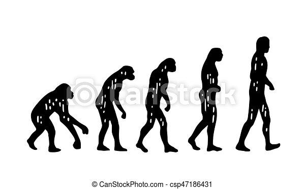 La teoría de la evolución del hombre. De mono a hombre. Grabación antigua - csp47186431