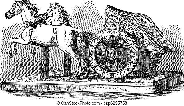 Chariot romano grabado - csp6235758