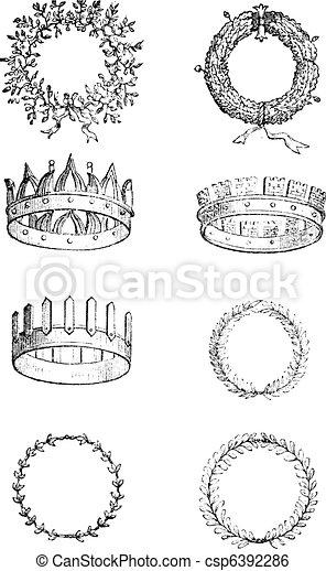Coronas romanas, grabados - csp6392286