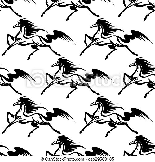 Graceful black horses seamless pattern - csp29583185