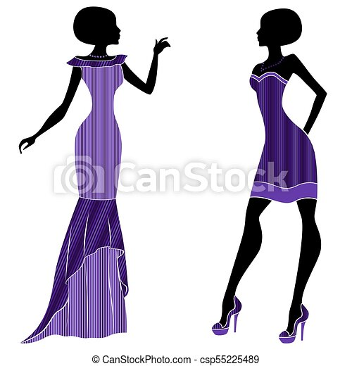 Graceful young ladies in long and short dresses - csp55225489