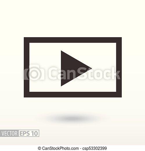 gracz, icon., video, płaski, znak - csp53302399