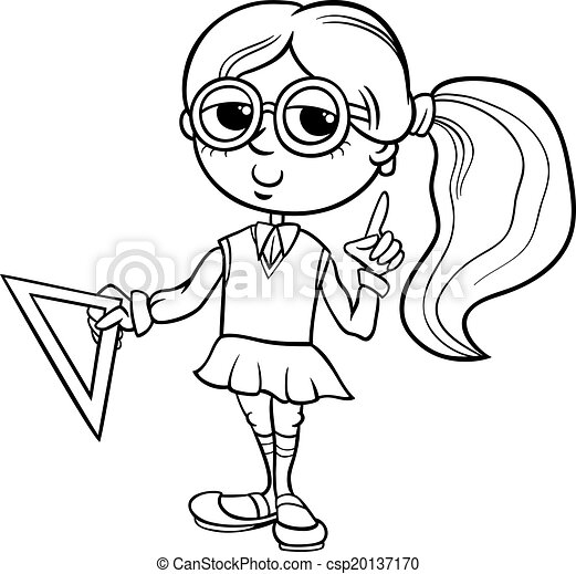 Grade school girl coloring page. Black and white cartoon ...