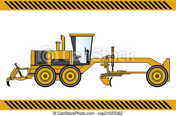 grader, equipamento, maquinaria construção, motor - csp21023362