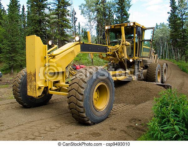 Grader resurfacing narrow rural road - csp9493010