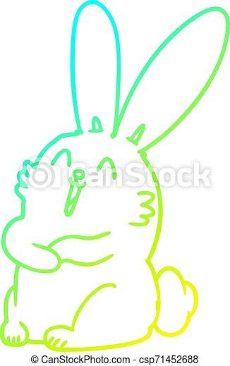 gradiens, egyenes, karikatúra, nevető, üregi nyúl, hideg, rajz, nyuszi - csp71452688