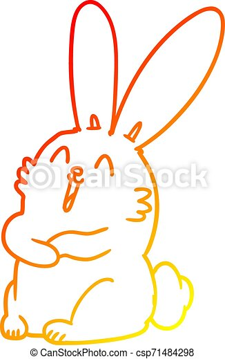 gradiens, karikatúra, meleg, nevető, üregi nyúl, megtölt rajz, nyuszi - csp71484298