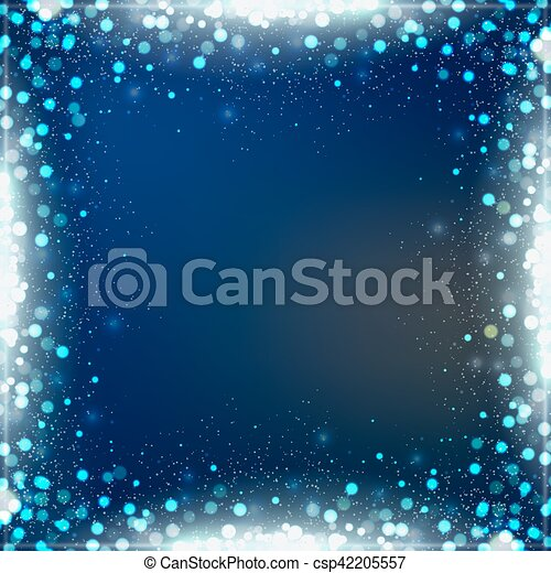 Gradient blue square background with bokeh border - csp42205557