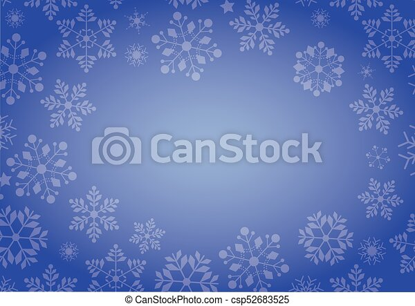 Gradient blue winter snowflake border Christmas background - csp52683525