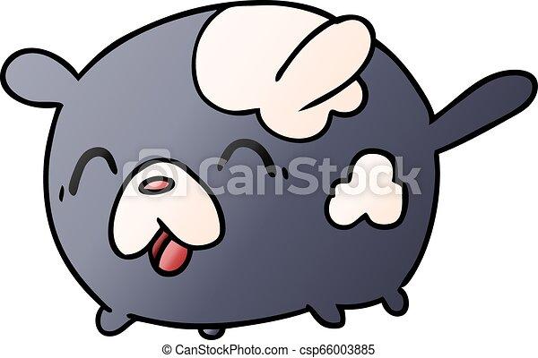 Gradient Cartoon Kawaii Cute Patch Dog Gradient Cartoon Illustration Kawaii Cute Patch Dog