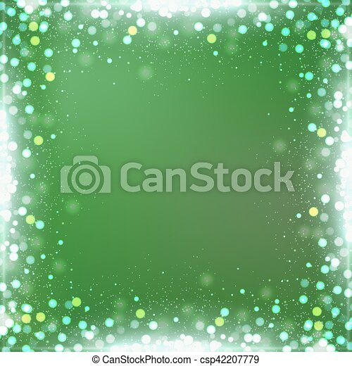 Gradient green square background with bokeh border - csp42207779