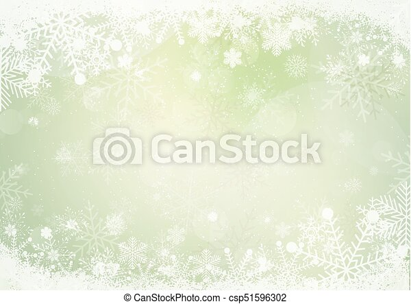 Gradient green winter snowflake border with the snow - csp51596302