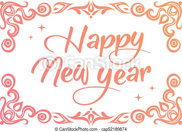 The gradient happy new year word with ornamental graphic border.
