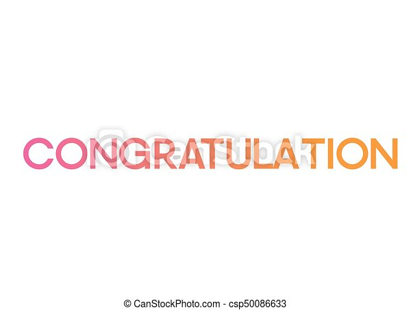 the gradient pink to orange isolated standard font word congratulation