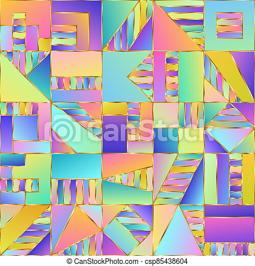 Gradient Seamless Pattern of Simple Graphic Geometric Shapes Pastel Squares. - csp85438604