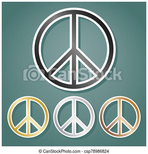 gradiente, paz, conjunto, fondo., illustration., bronce, blanco, iconos, oro, gris, sombra, contorno, metálico, viridan, plata, señal - csp78986824