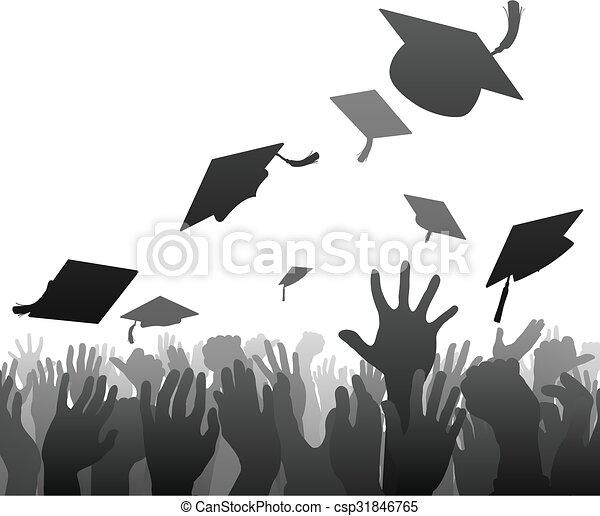 graduación, multitud, graduados - csp31846765