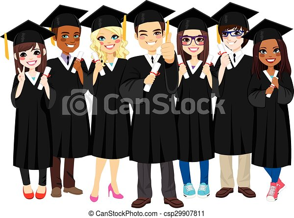 Estudiantes exitosos graduándose - csp29907811