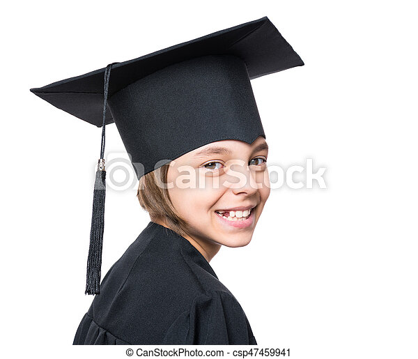 Graduate little girl student. Portrait of a graduate little girl ...